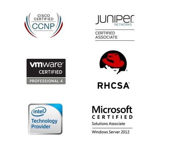 Loga certifikací našich administrátorů – RHCSA, Microsoft, Cisco, Intel, Juniper a VMware.
