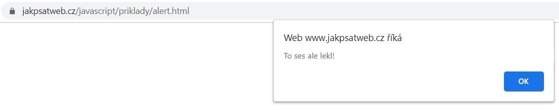 Obrázek ukazující jak může vypadat JavaScript alert