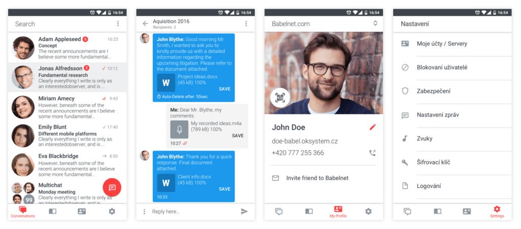 Screenshot z mobilní verze BabelApp pro Android