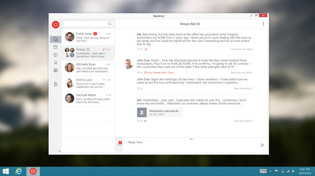 Screenshot desktopové verze BabelApp ve Windows