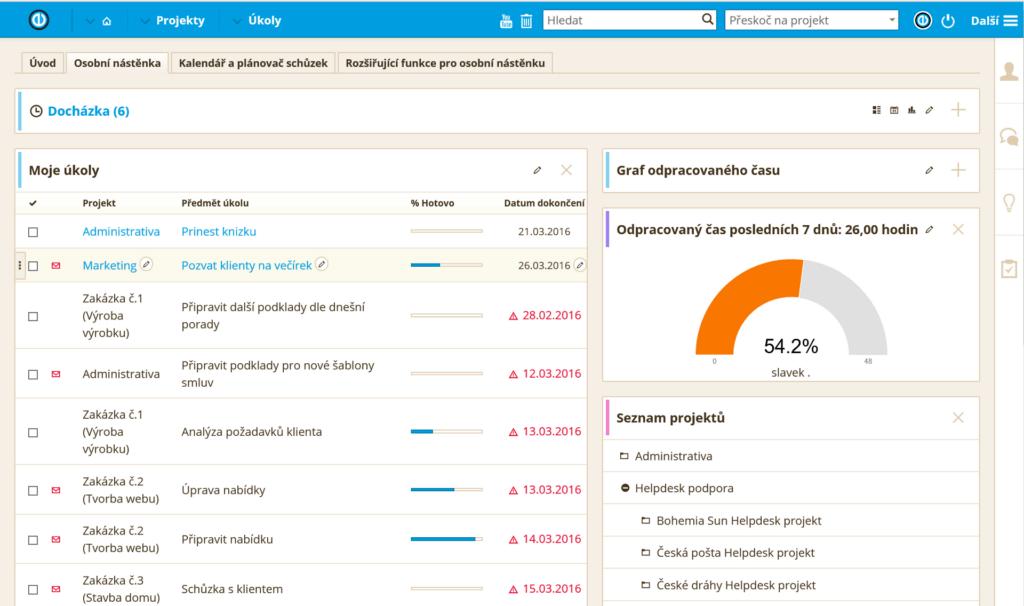 Screenshot osobní nástěnky v softwaru EasyProject