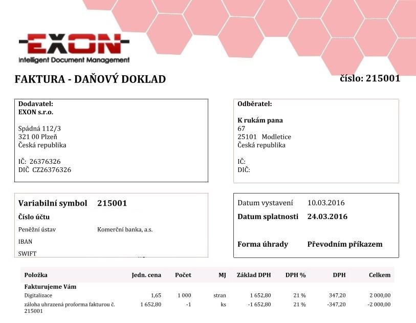 Ukázka daňového dokladu v systému Fido