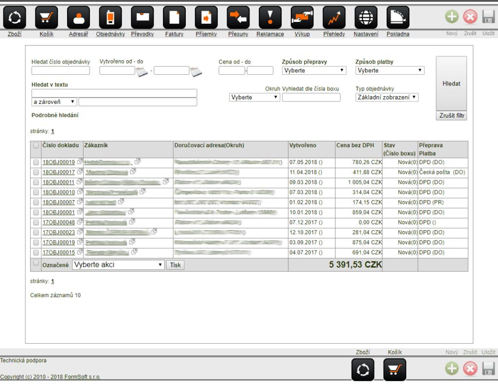 Screenshot výpisu objednávek v systému Macros