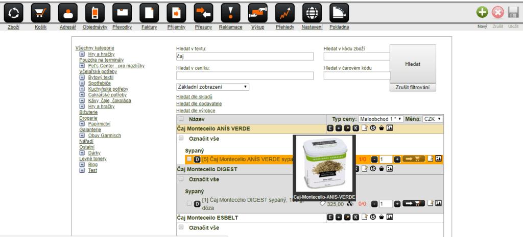 Screenshot výpisu zboží v systému Macros