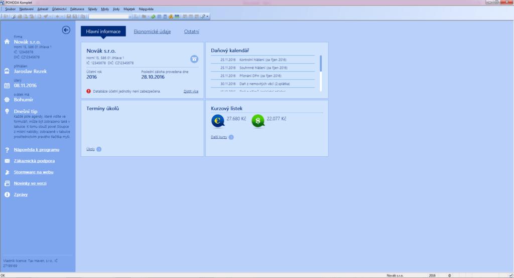Screenshot výpisu hlavních informací v systému Pohoda