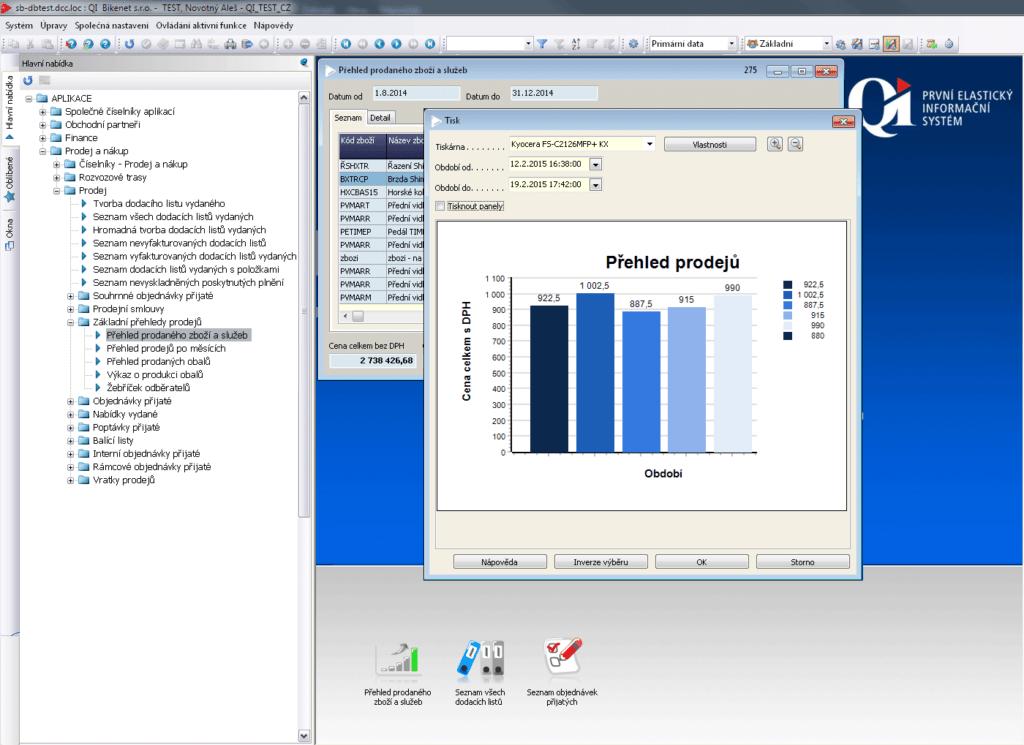 Ukázka z obchodu v systému QI