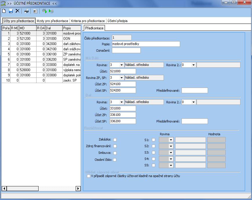 Ukázka zadávání účetní předkontace