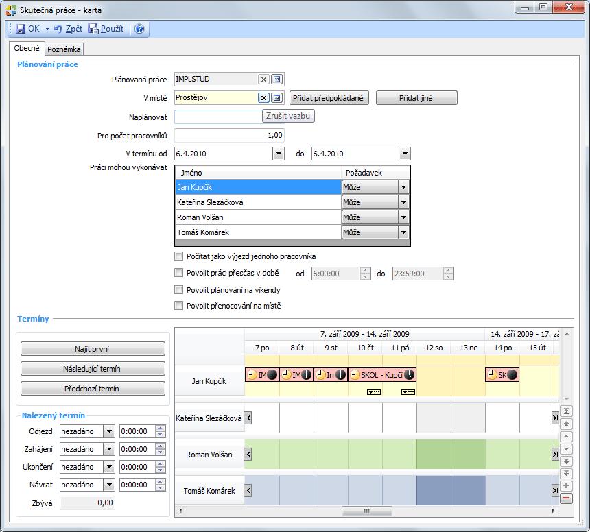 Screenshot ukázky skutečné práce přiřazené k zakázce
