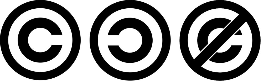 Copyright – C v kroužku, Copyleft – obrácené C v kroužku, Anti-copyright – přeškrtnuté C v kroužku