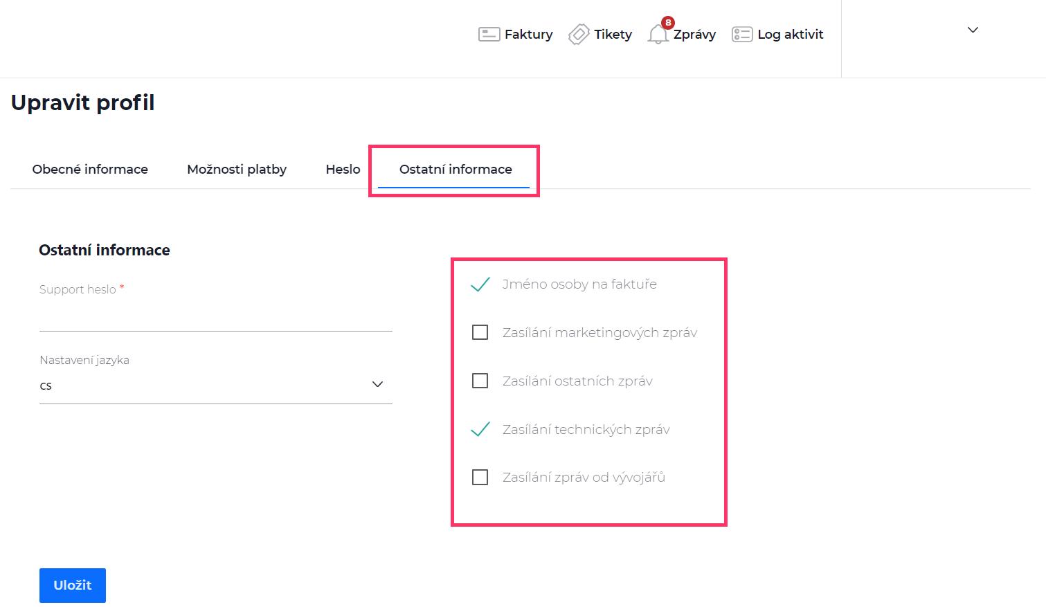 Screenshot – po kliknutí na položku Ostatní informace se zobrazí výběr typů zpráv, které si můžete nechat přeposílat na e-mail