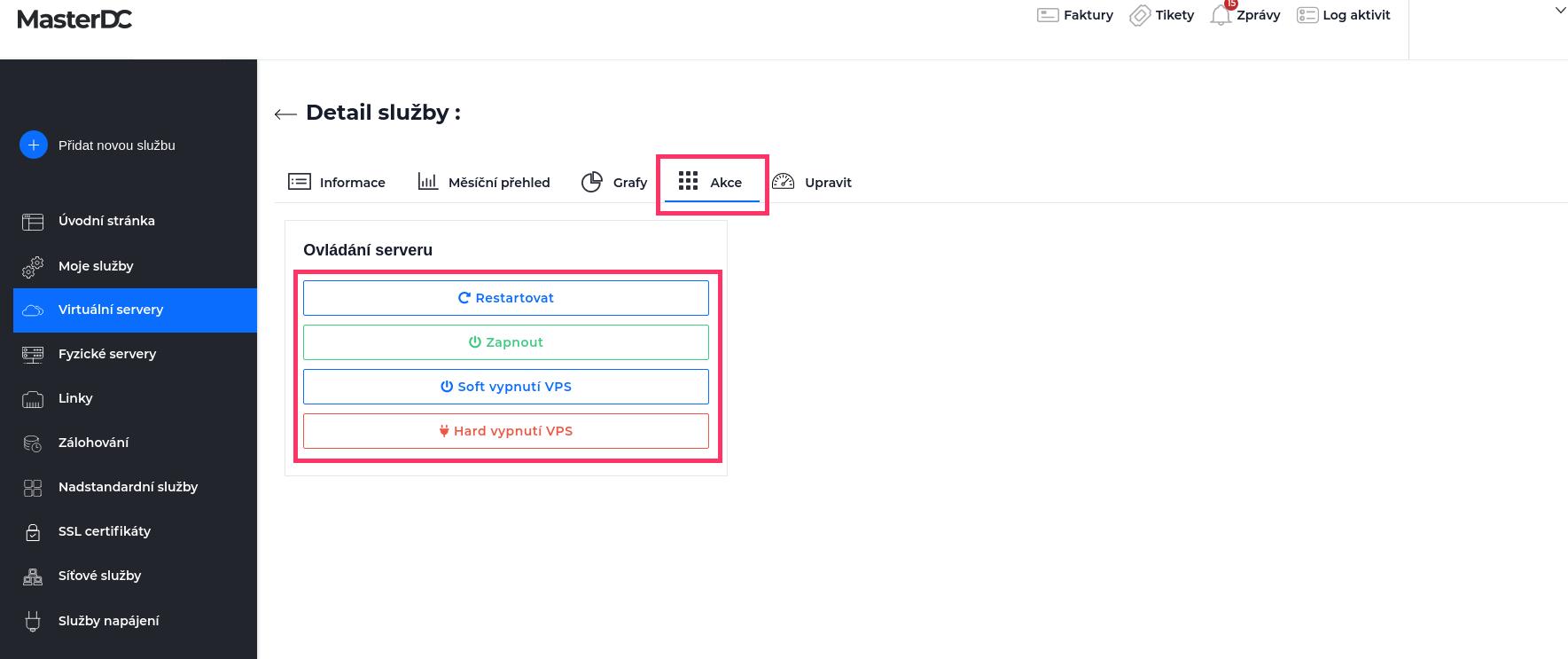 Screenshot – nabídka vypnutí/zapnutí VPS v Zákaznické administraci