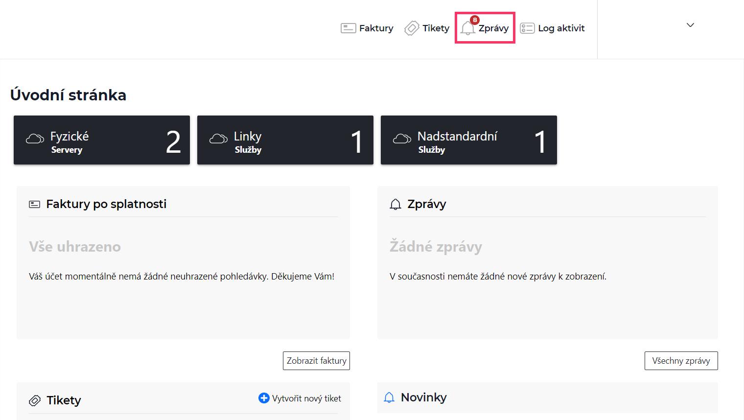 Screenshot – výběr položky zprávy