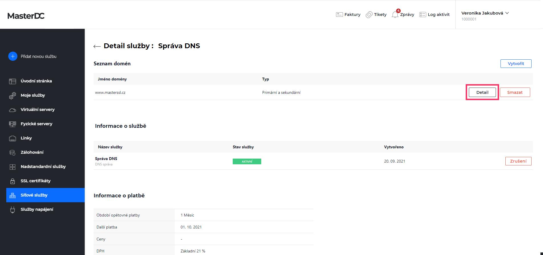 Screen ze Zákaznické administrace – detail domény