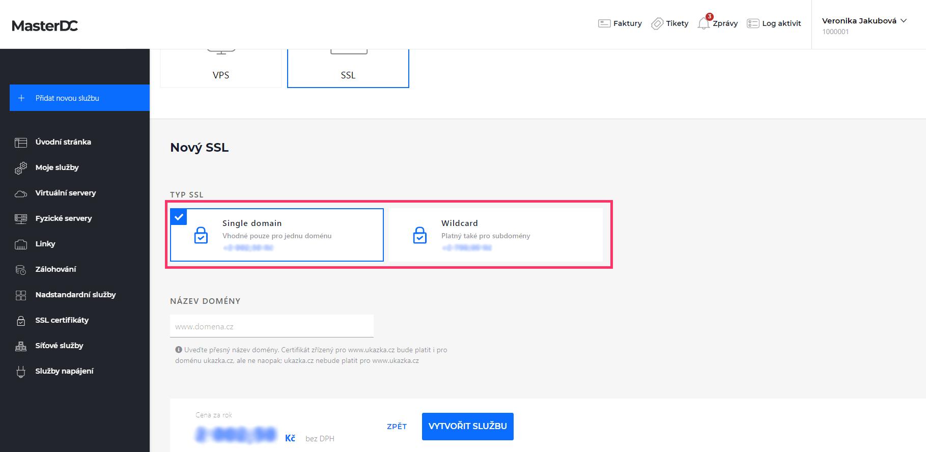 Screenshot – výběr certifikátu v Zákaznické administraci