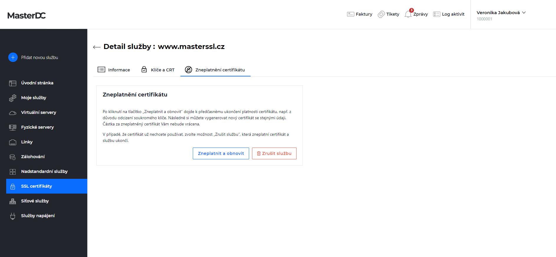 Screen ze Zákaznické administrace – možnosti zneplatnění certifikátu